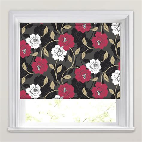 large patterned roller blinds scarlet red white brown fawn large flowers patterned