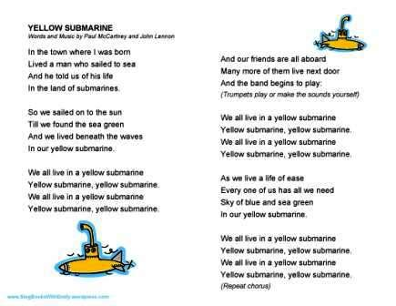yellow testo yellow submarine a singable picture book sing books