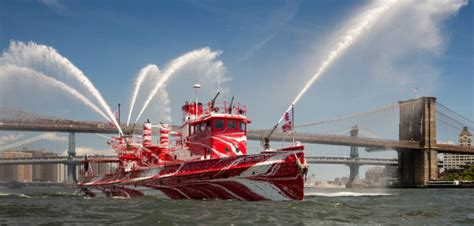 fdny fireboat john j harvey historic nyc fireboat dons dazzle paint workboat