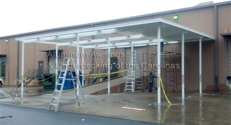 commercial metal awning aluminum awnings under decking nc sc
