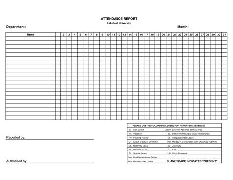 inspirational and inspirational attendance sheet template with