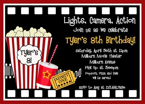 printable birthday invitations movie party movie