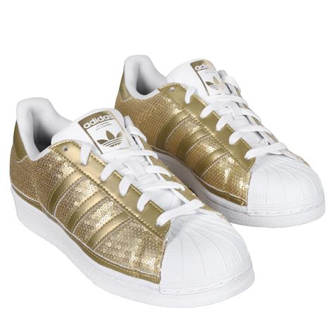 adidas shoe wmns superstar low sneaker gold white 120621