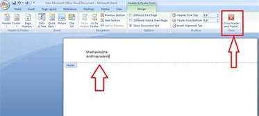 how to insert or remove header and footer in ms word