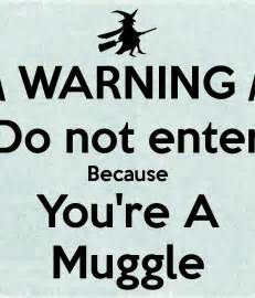 warning do not enter because you re a muggle poster