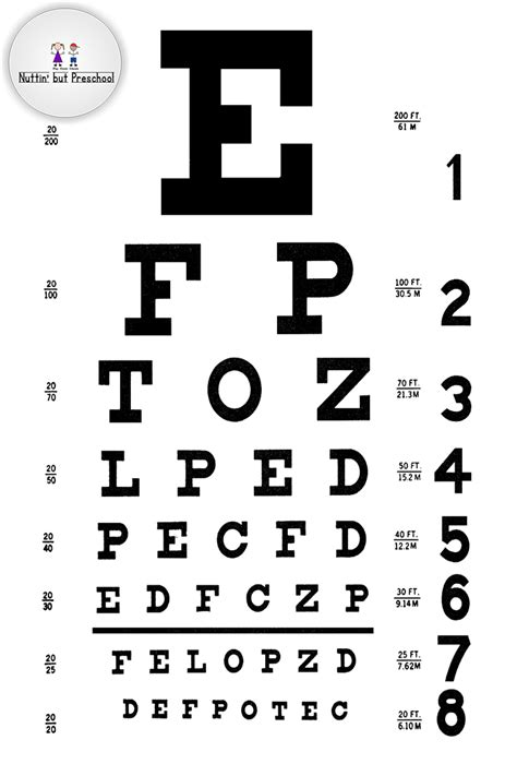 printable vision chart pdf eye doctor eye chart for house corner nuttin but preschool