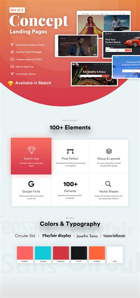 multi categories web design template  startups sketch