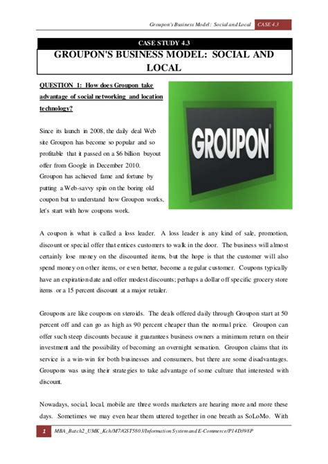 Groupon Mba by Case4 Groupon S Business Model Social And Local
