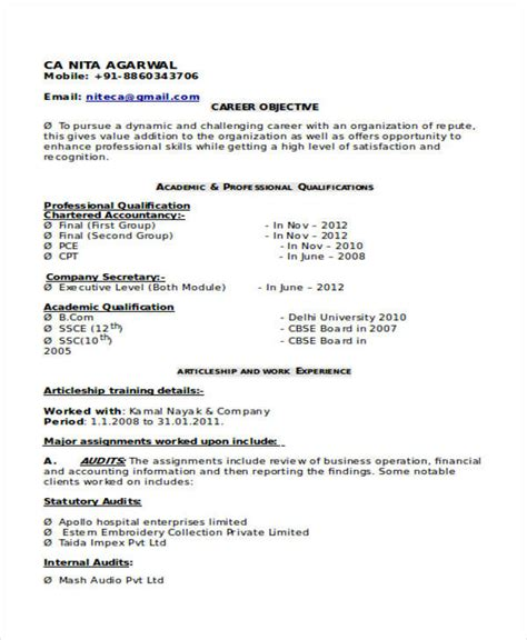 resume sles for freshers chartered accountant 32 accountant resume sles sle templates