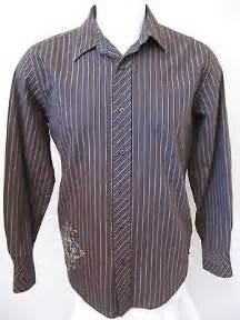 Mens long sleeve casual shirt m brown stripe modern fit anchor blue