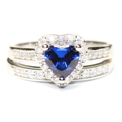 sapphire promise ring with band blue cubic