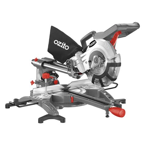 drop saw bench ozito 210mm 8 188 quot 1800w compound sliding mitre saw ebay