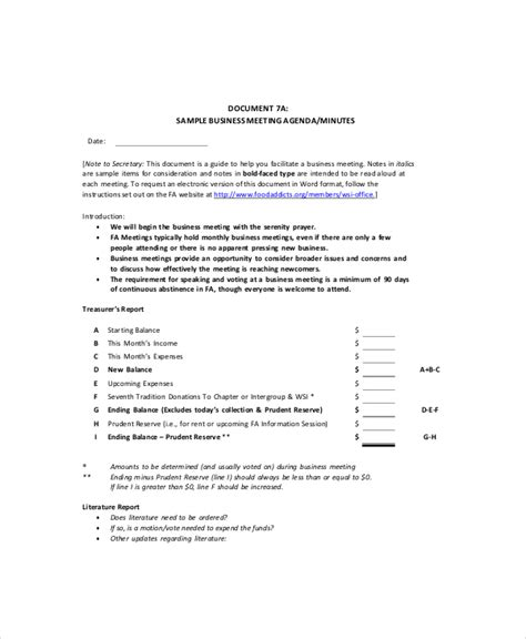 business meeting agenda template business meeting agenda