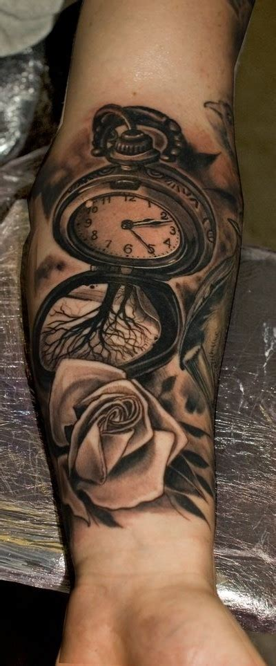tattoo 3d reloj relojes y rosas tattoo