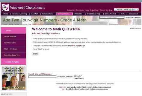 Online Practice Quiz Add Two Four Digit Numbers