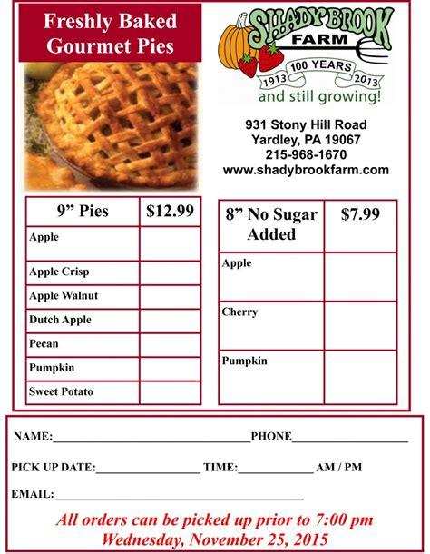 turkey and pie order form shady brook farm