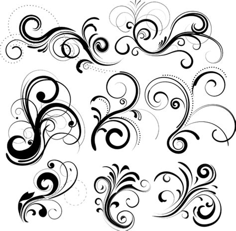 pattern swirl vector swirls decor design vector set 04 vector frames
