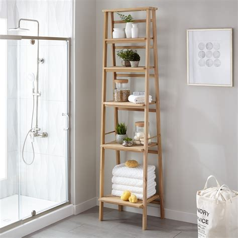 Shelves In Bathroom Oversized Ladder Style Teak Bathroom Shelf Bathroom
