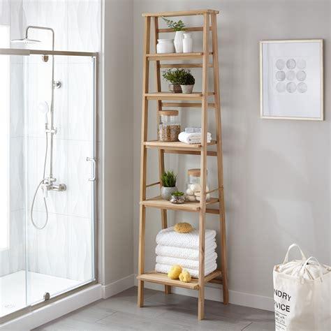 Oversized ladder style teak bathroom shelf bathroom