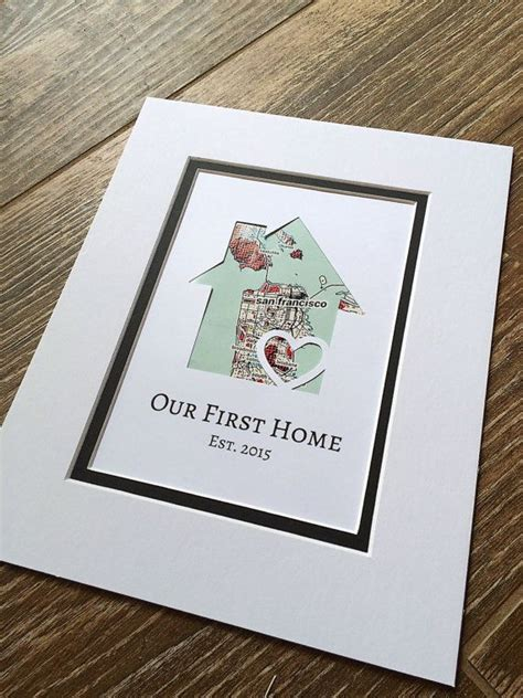 first home housewarming gift our first home personalized home map matted gift first