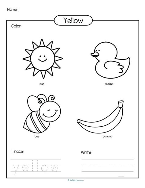 yellow color activity sheet repinned by totetude com color yellow worksheets preschool color of love