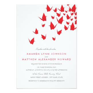 Origami Crane Wedding Invitations - paper crane invitations announcements zazzle