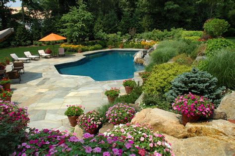 landscaping ideas for pool area garden friendly pools