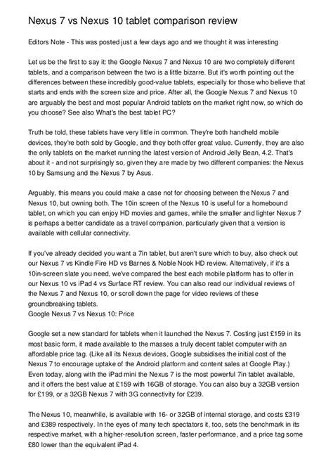 Nexus 7 vs Nexus 10 tablet comparison review