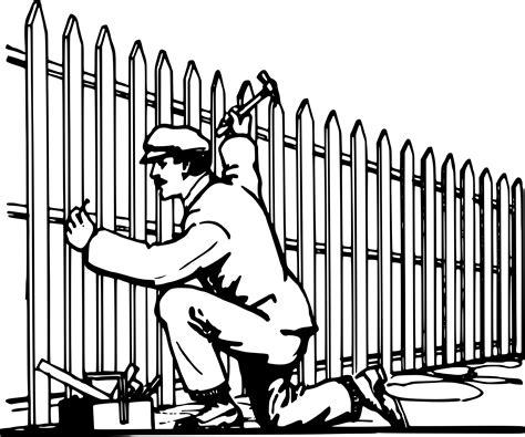 Clipart - Man Makes Fence Microsoft Garden Clipart