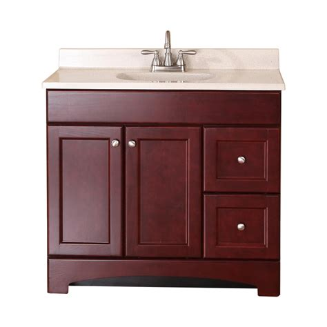 shop style selections clementon cherry integral single sink bathroom vanity with cultured marble