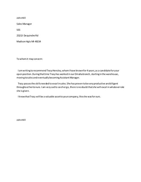 sle of letter of recommendation for letter of recommendation sales manager