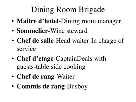 Dining Room Operations Meaning Dining Room Brigade Definition 28 Images Organization