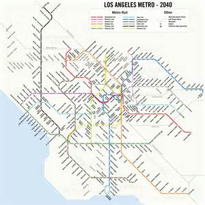 La Metro Map by Map A Potential 2040 Los Angeles Metro Subway System Map