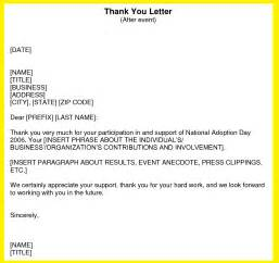 business thank you letter support sle thank you letter