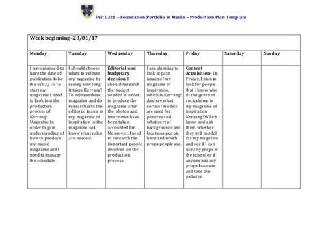 Production Plan Template Production Plan Template