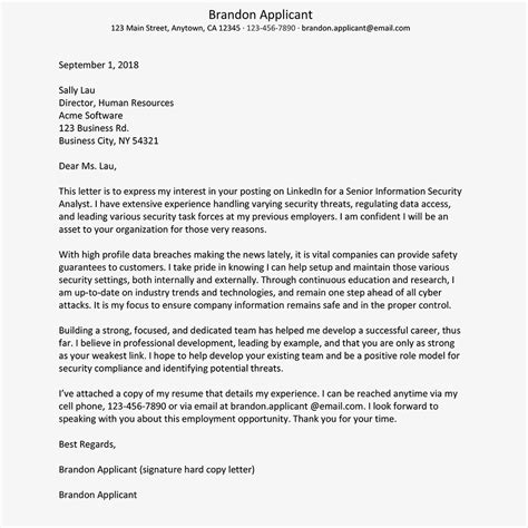 security resume samples cover letter examples of template cyber