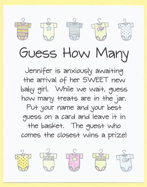 How Many Do You Play At A Baby Shower by Baby Shower Guess How Many Jar By Cardsbykooper