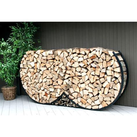 firewood holder 8ft double round firewood rack w kindling holder cover
