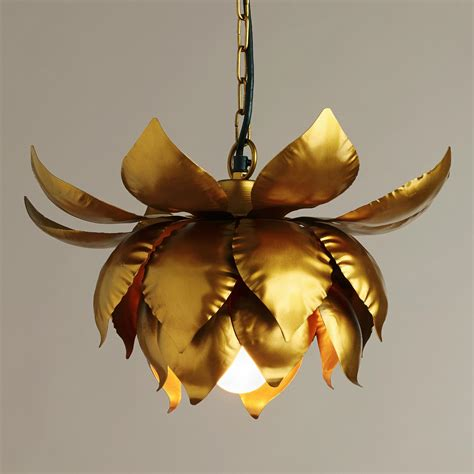 Lotus Flower Pendant Light Gold Lotus Hanging Pendant L World Market