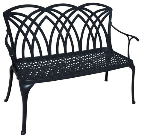 cast aluminum outdoor bench shop houzz sunwithus wessex cast aluminum outdoor bench