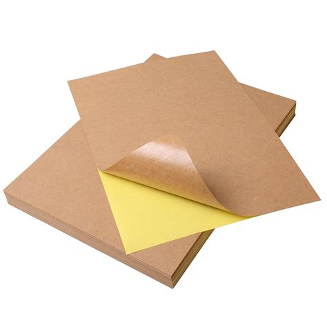 How To Make Adhesive Paper - 100pcs a4 self adhesive kraft label sticker diy paper for