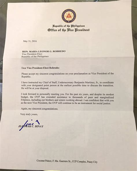 Letter To Look Vp Binay S Letter To Successor Robredo Inquirer News