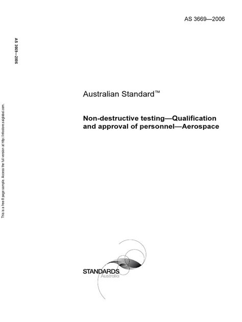 As 3669-2006 Non-Destructive Testing - Qualification and