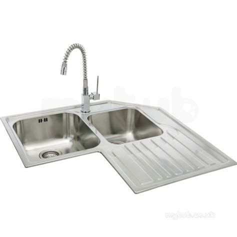 lavella corner kitchen sink with right hand double bowl and drainer carron