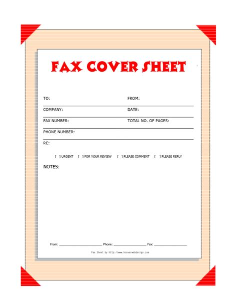 fax cover letter template printable fax cover sheet template
