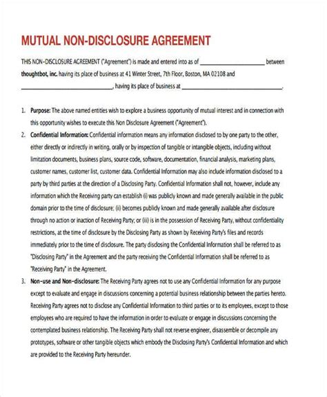 intellectual property non disclosure agreement template confidentiality agreement nondisclosure