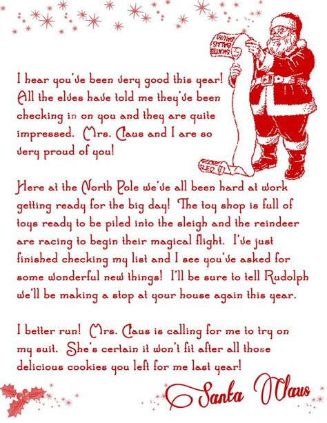 Santa On The Shelf Letter by Letter From Santa Printable Free On The Shelf One Day Kid And The