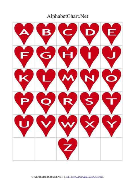 printable red alphabet heart shaped alphabet letter charts alphabet chart net