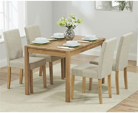 Dining Table With Fabric Chairs Oxford 120cm Solid Oak Dining Table With Grey Fabric Chairs The Great Furniture Trading