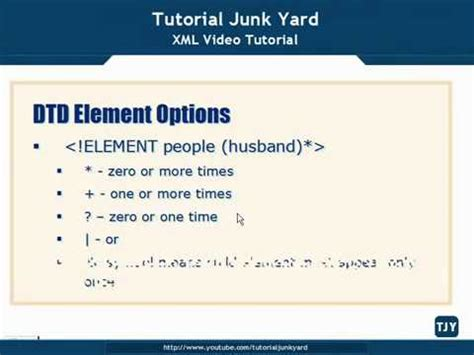 xml tutorial element attribute xml tutorial 26 dtd schema element options youtube